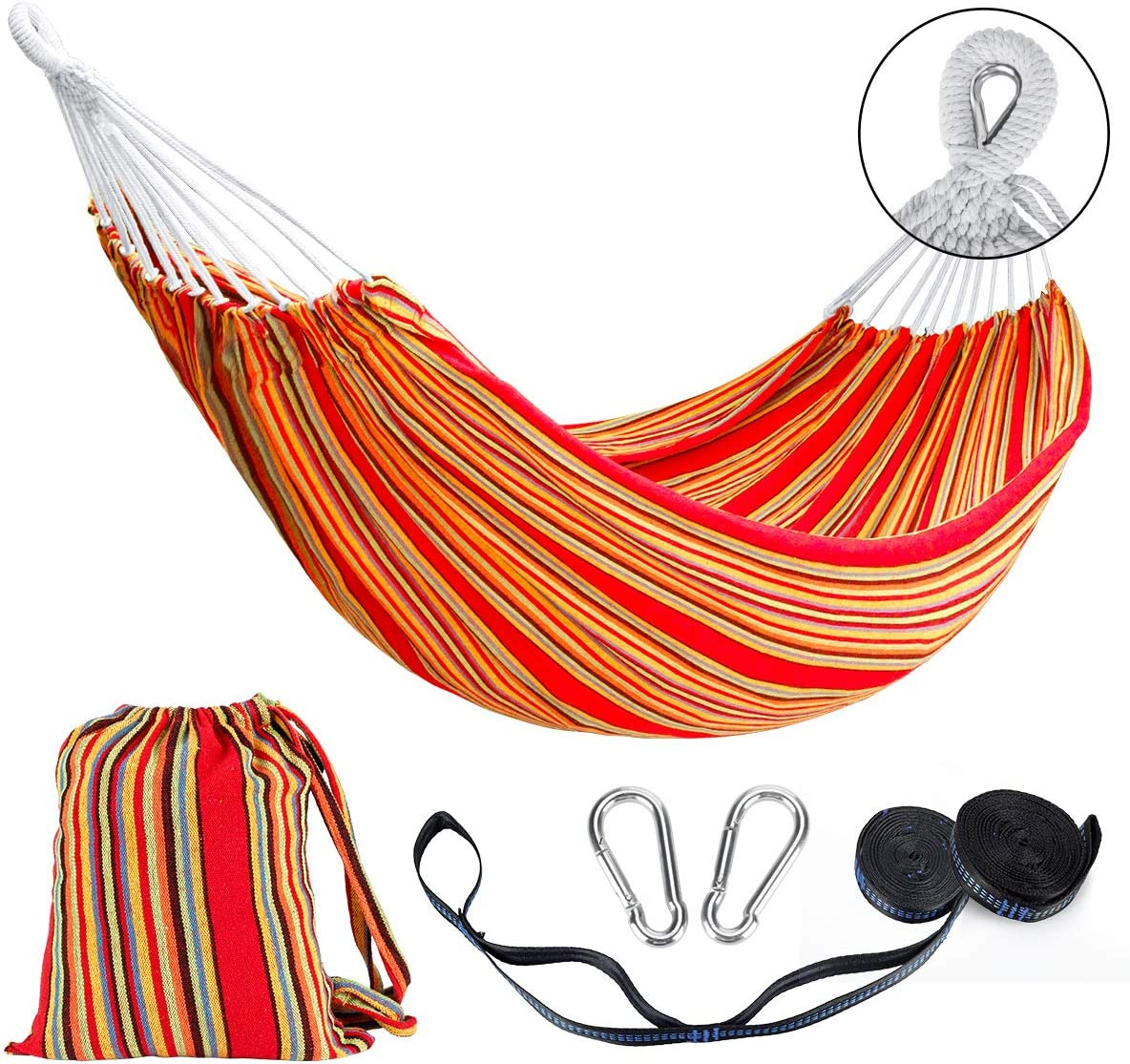 Lalafancy Double Hammock 2 Person Cotton Travel Hammock with Carrying Bag, 450lbs Ultralight Camping Hammock for Patio Porch Garden Backyard Lounging Outdoor or Indoor Rainbow Stripe Hammock