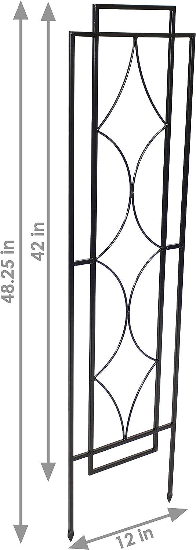 Sunnydaze 2-Piece Chic Diamonds Design Garden Trellis Set Decorative Metal Garden Plant and Flower Trellis Black 48-Inch Tall Each