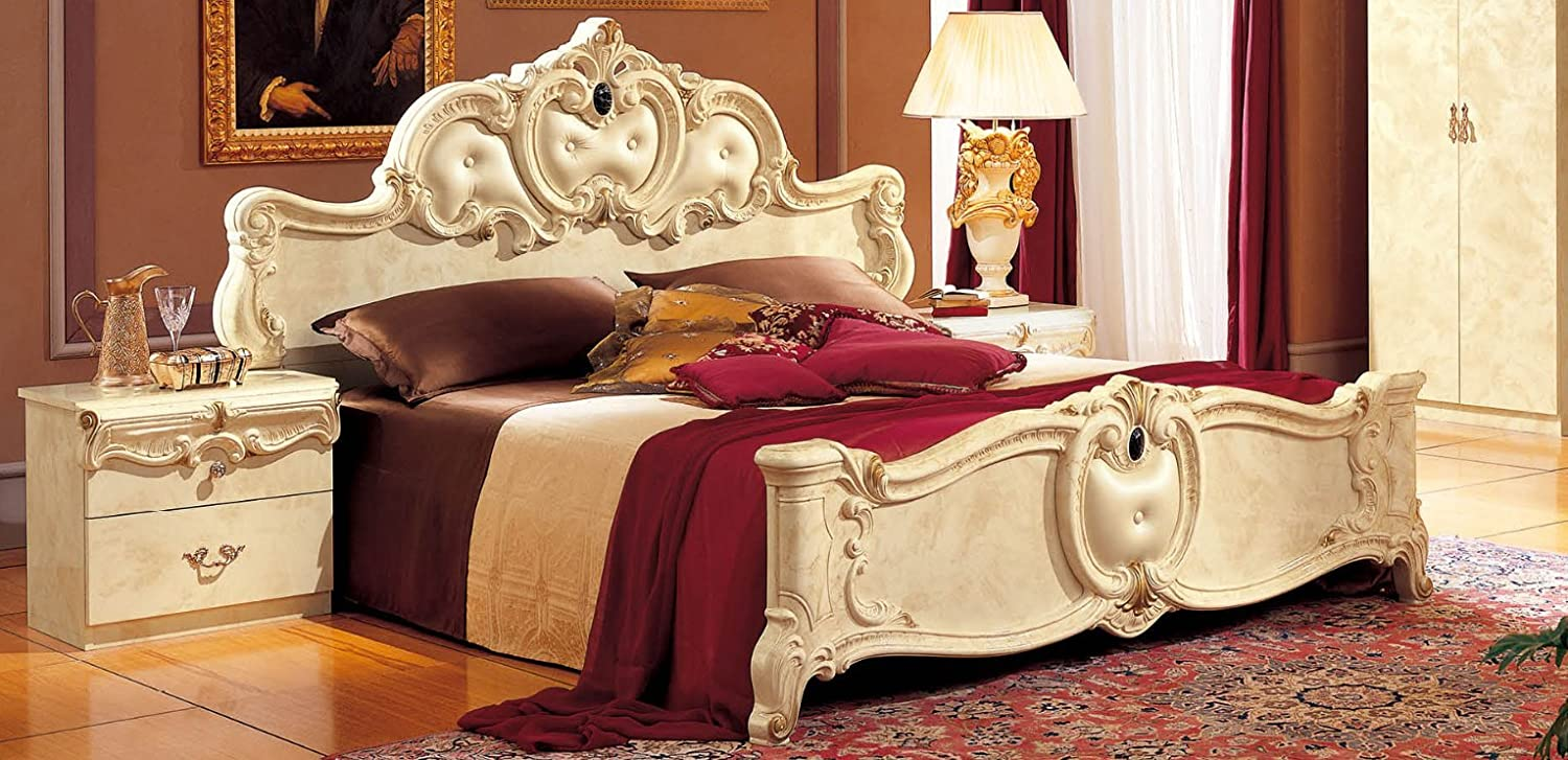Amazon.com: ESF Barocco Glossy Ivory Finish Queen Size Panel ...