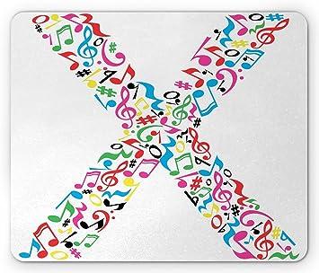 Alfombrilla de ratón Letter X, Signos Musicales de Colores ...