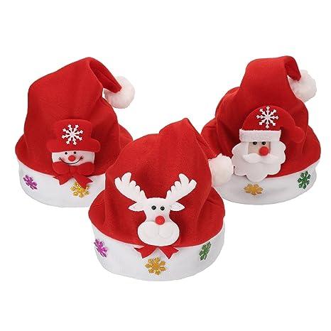 Cappello Natale 3 Pezzi Decorazione Animal Cartoon Bambini Cappellino Luce  LED Unisex Christmas Hat con Festa