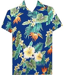 ab064281 Hawaiian Shirt Mens Flower Leaf Beach Aloha Party Casual Holiday Short  Sleeve