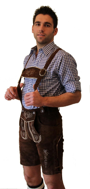 Kurze Trachten -Lederhose Farbe dunkelbraun, mit Hosenträger, Größen 44 - 62