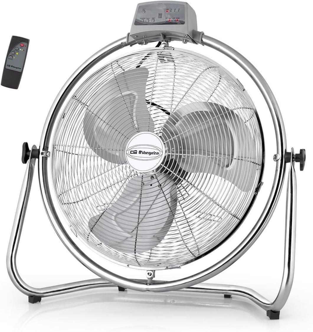 Orbegozo PWM 2147 - Ventilador industrial oscilante, 45 cm de diámetro, 3 velocidades de ventilación, mando a distancia, sistema antivuelco, cabezal oscilante multiorientable, 130 W de potencia