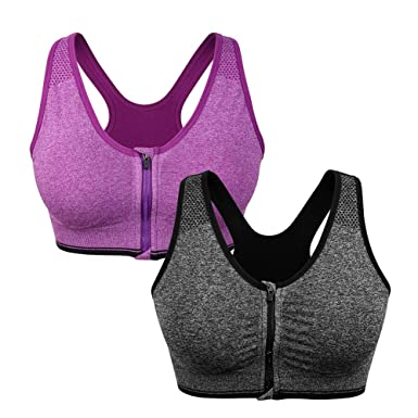 30cde542440be Image Unavailable. Image not available for. Color  Women s Zip Front Sports  Bra Wireless ...