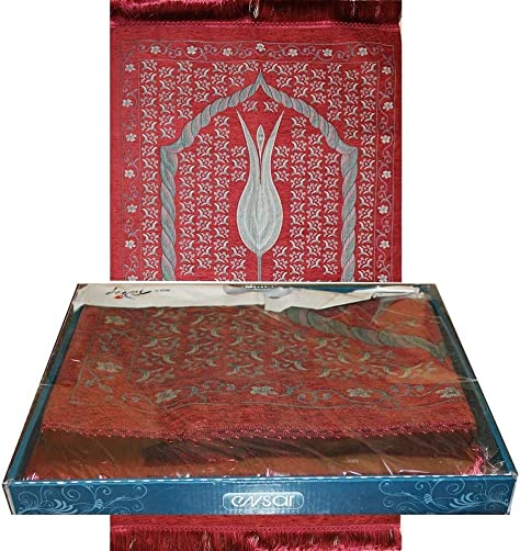 Turkish Islamic Luxury Rose-Scented Thin Woven Embroidered Chenille Tulip Prayer Mat Gift Box Red