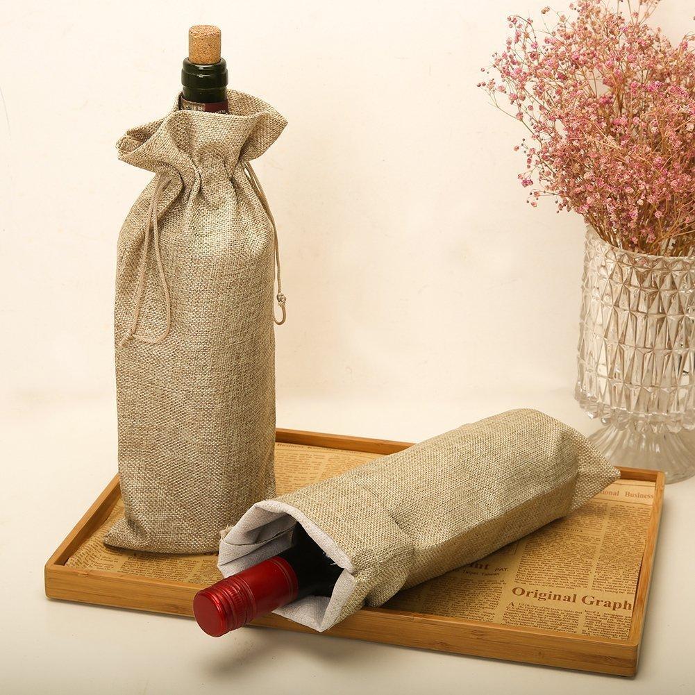 Burlap Wine Bags 10PCS bottiglia riutilizzabili e confezione regalo 15,2/x 34/cm con coulisse Bottle Wrap abiti di colori diversi sacchetti Meiso