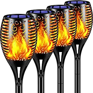 Flickering Flame Outdoor Solar Lights, Pack of 4 Home Path Decorative LED Solar-Powered Lighting with Auto On/off – Waterproof Landscape Decoration Light, Ideal for Pathways, Gardens, Backyard, Patio