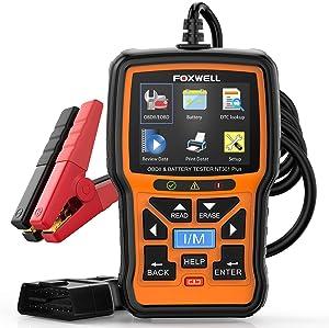 FOXWELL Scanner NT301 Plus OBD2 Scanner & 12V Battery Tester, [ 2021 New Version ] 2 in 1 Car Diagnostic Scanner for All Cars, O2 Smog Test Automotive Scanner, Check Engine Code Reader Scan Tools