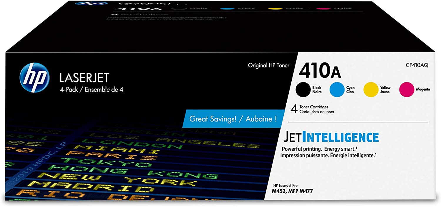 HP 410A | CF410A, CF411A, CF412A, CF413A | 4 Toner Cartridges | Black, Cyan, Magenta, Yellow