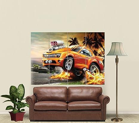 Amazon.com: Hot Wheels coche de carreras gigante Pared Arte ...