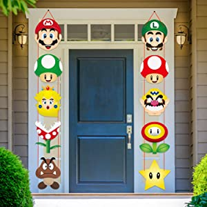 ANGOLIO Mario Party Decoration Mario Porch Sign Theme Decor Favors Hanging Flags Banners Wall Decoration Mario Party Banner for Photo Booth Props Birthday