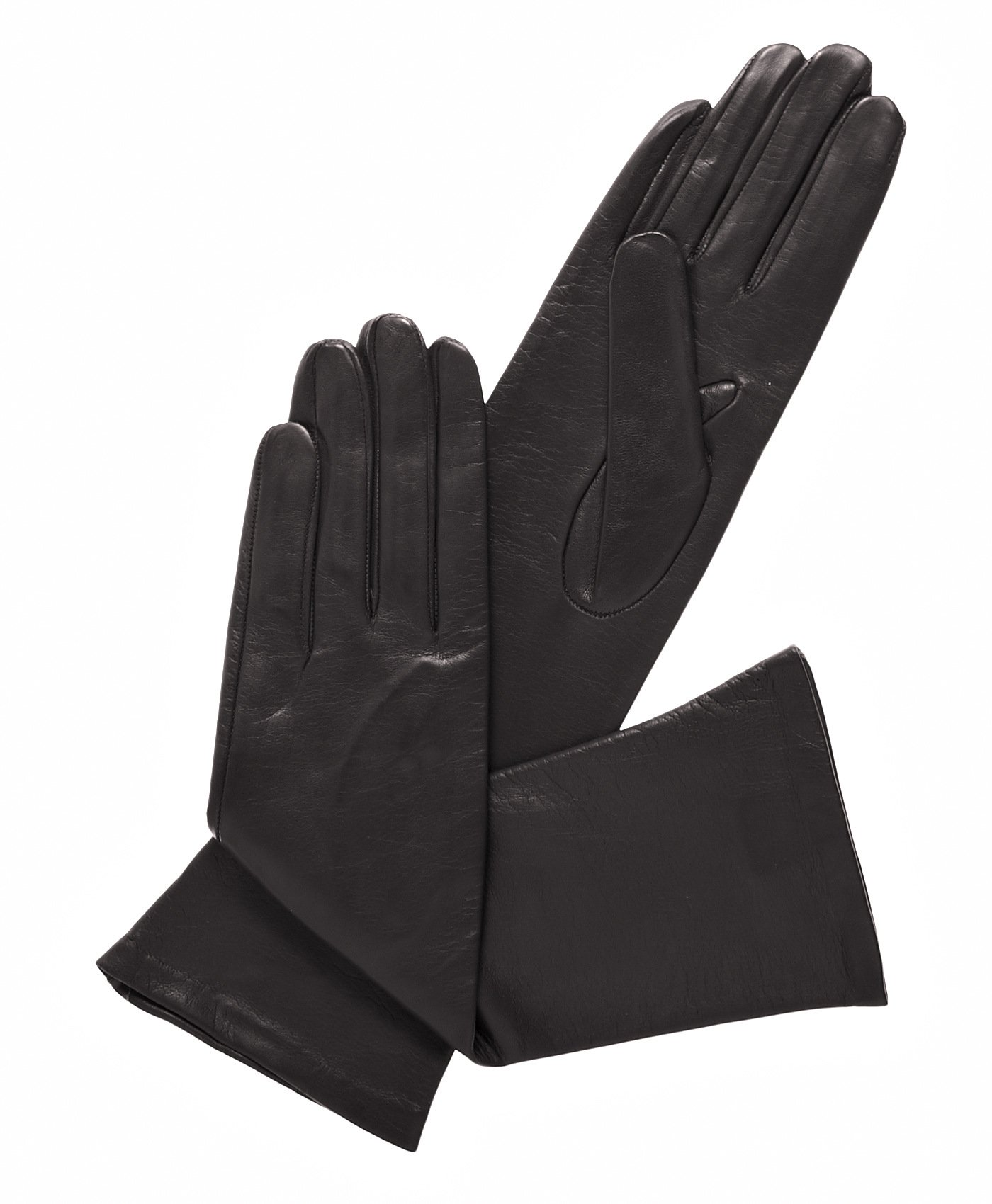 Fratelli Orsini Women's Italian ''6 Button Length'' Silk Lined Leather Gloves Size 7 Color Black