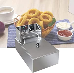 WSJMJ 2500W 6L Electric Deep Fryer, Stainless Steel French Deep Fat Fryer with Lid, Adjustable Temperature Control, 220V 60~200℃, for Commercial Restaurant,Fast Food Restaurant,Home