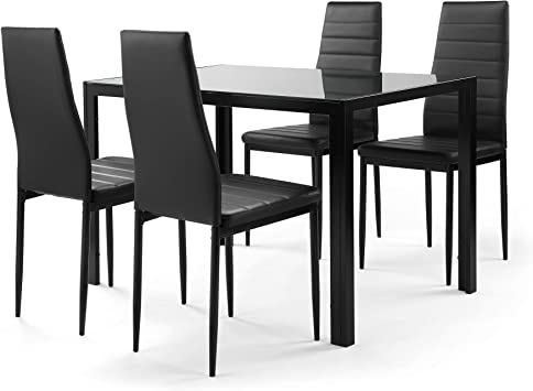 Amazon Com N A 5 Pieces Dining Table Set Kitchen Room Tempered Glass Dining Table With 4 Pu Leather Chairs For Small Spaces Home Furniture Rectangular Black Table Chair Sets