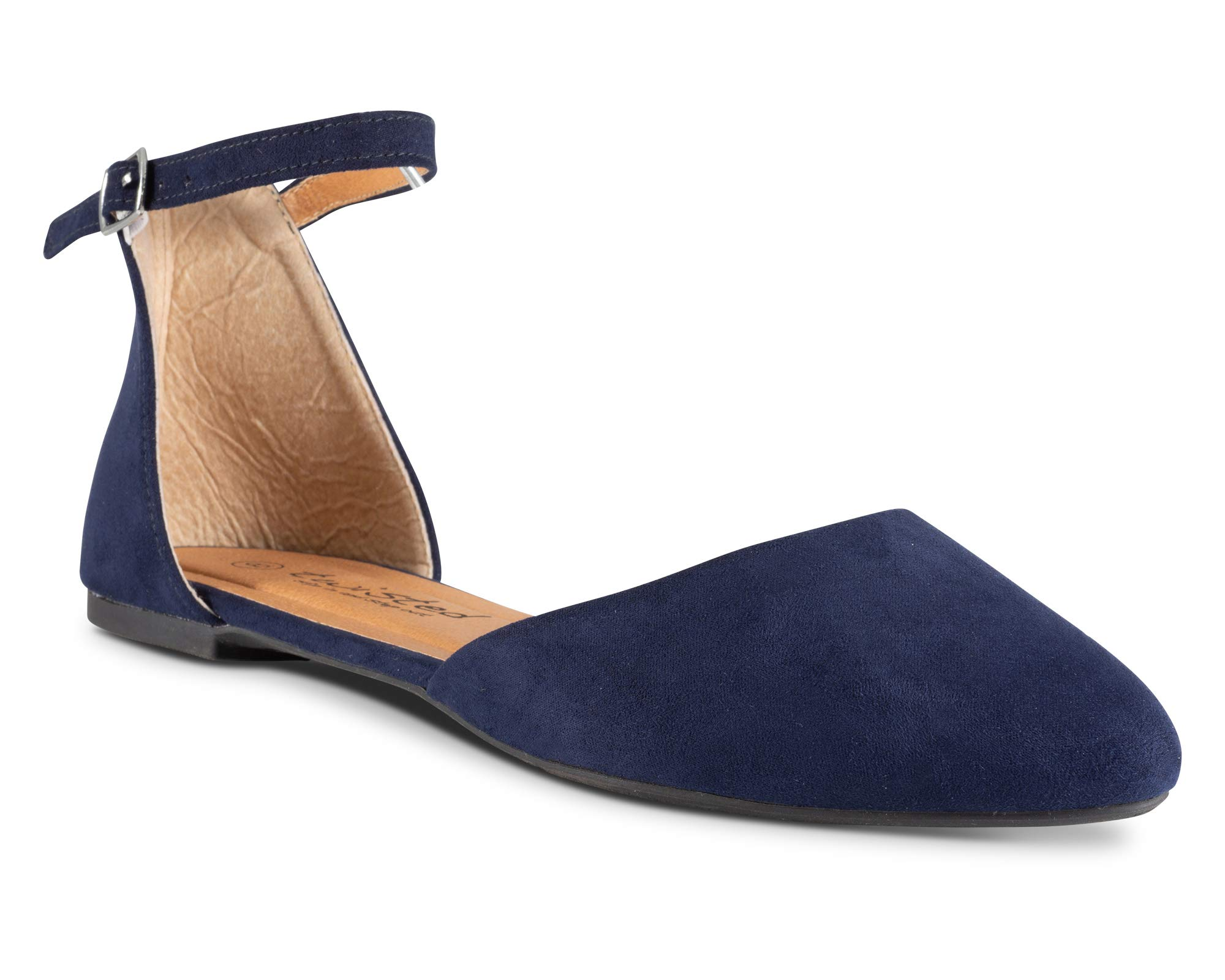 Twisted Womens Faux Suede Almond Toe Ballet Flat with Ankle Strap Lindsay 687-NAVY Size 9