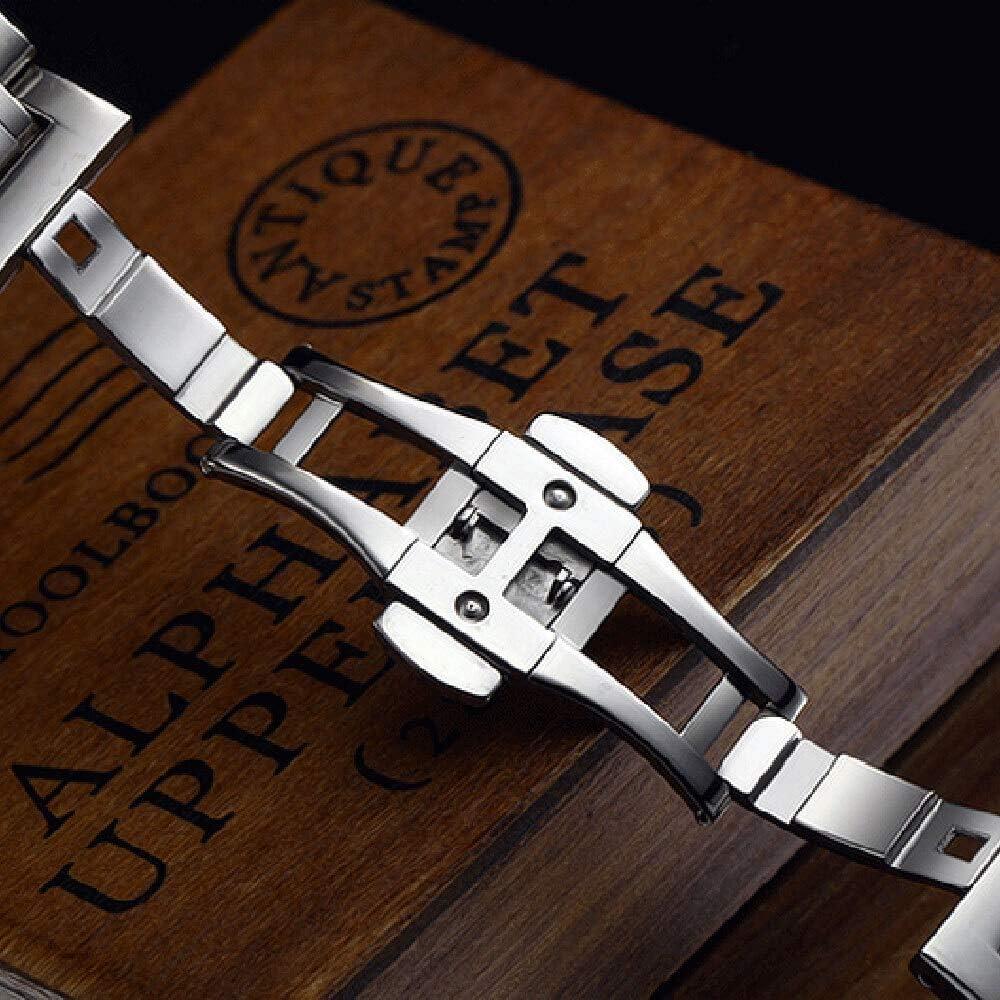 Love+djl Bracelets de Montre Haute Qualité 18/19/20/22/24/26 / 28mm Argent Largeur Couleur Montre en Acier Inoxydable Bracelet for Smart Business Montres 19mm