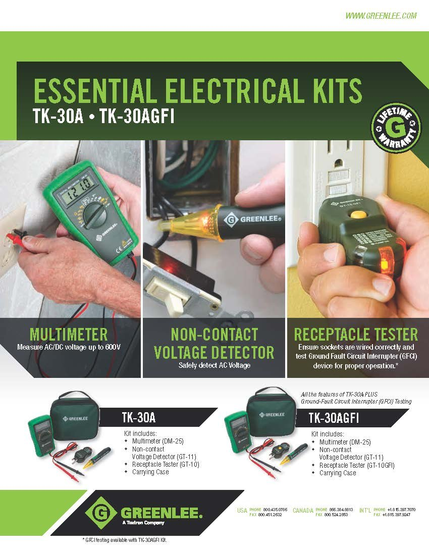 Greenlee Tk 30a Basic Electrical Kit 1 Pack Voltage Testers Tools Home Improvement