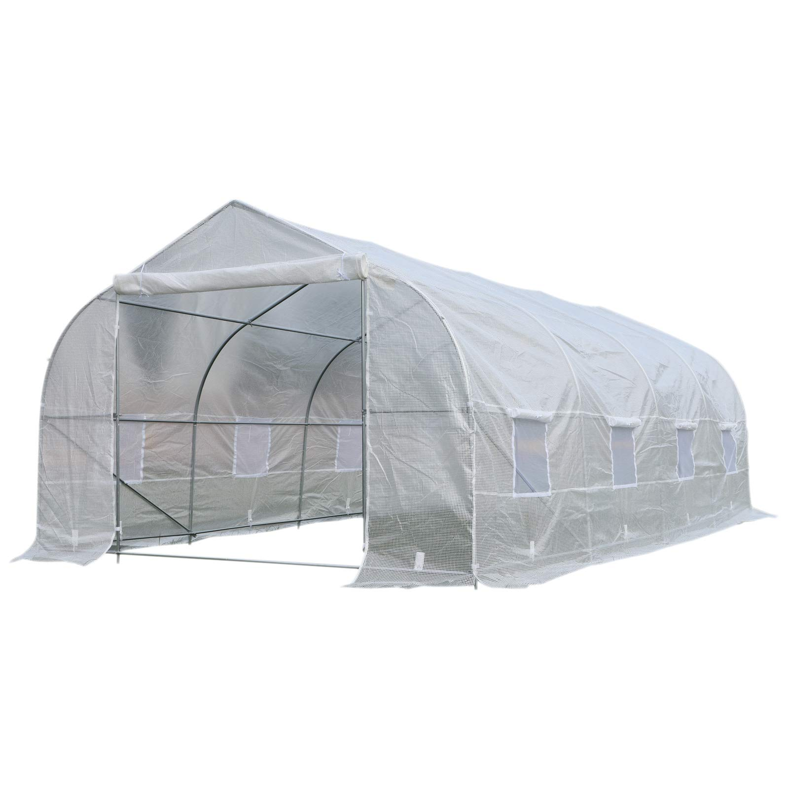 Outsunny 19.5' Portable Walk-in Garden Greenhouse - White by Outsunny