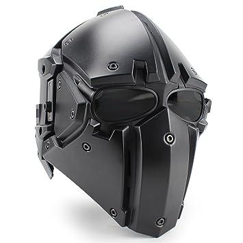 Tactical Airsoft Casco de protección completa con visera Gafas para militar caza Paintball motocicleta Cosplay (negro): Amazon.es: Deportes y aire libre