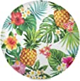 "Baofu Summer Pineapple Placemats Round Table Mats Non-Slip Washable Heat Resistant Waterproof Colorful Spring Placemat for Kitchen Dining Coffee Table Decoration 15.4""(4PCS)"