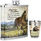 Gennissy 30418/8fiaschetta in acciaio inossidabile–in pelle marrone con 3tazze e imbuto 100% a prova di perdite, Acciaio inossidabile, A Book of Horses, 9 OZ