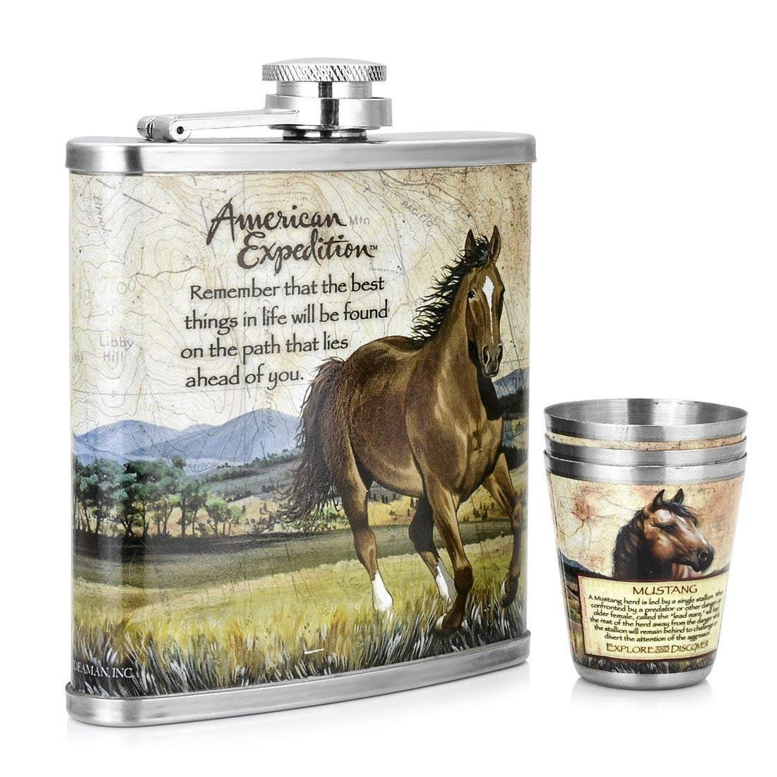 GENNISSY Hip Flask, Stainless Steel Landscape Steed Pattern Book Type Package Hip Flask Set Gifts for Friends Shenglin