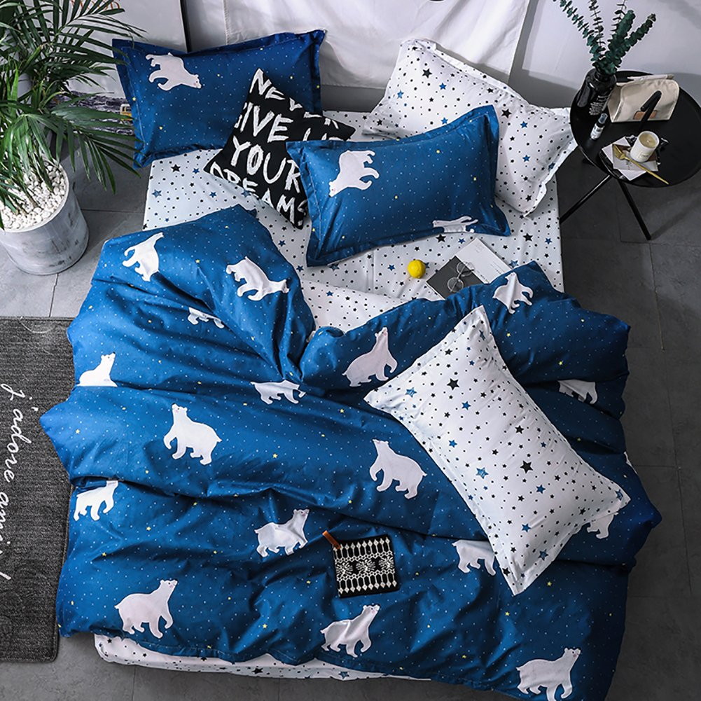 3Pcs No Comforter and Sheet BeddingWish Cartoon Construction Excavator Tractor Beddding Set For Kids Teen Boys,1 Duvet Cover 2 Pillow Shams -Twin Size