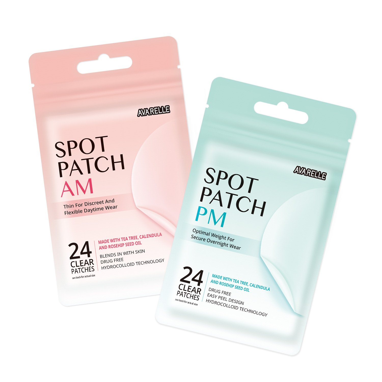 Acne Spot Patch AM+PM Daytime Absorbing Cover Patch Hydrocolloid, Tea Tree Calendula, Rosehip Seed Oil (AM+PM / 48 PATCHES) by AVARELLE