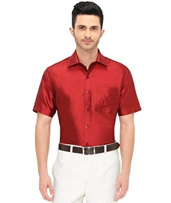 f575310d065a1 Khoday Williams Mens Half Sleeve Shirt - 100% Silk Dupion Material - Shirt  Collar - Red Colour - Mens Half Sleeve Shirt - 100% Silk Dupion Material   ...