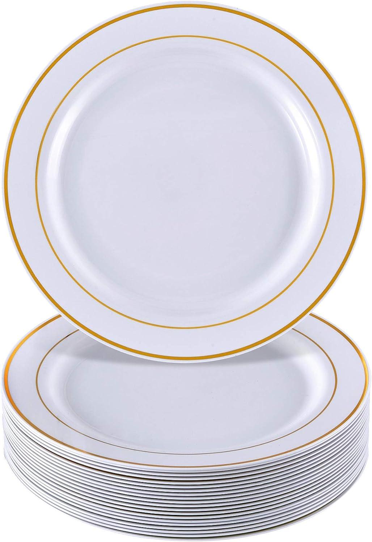 Silver Spoons, VAJILLA PARA FIESTAS DESECHABLE DE 20 PIEZAS | 20 platos grandes| Platos de plástico resistente | Para bodas y comidas de lujo (Golden Glare - Blanco/Borde dorado| 7,5 pulgadas/26 cm)