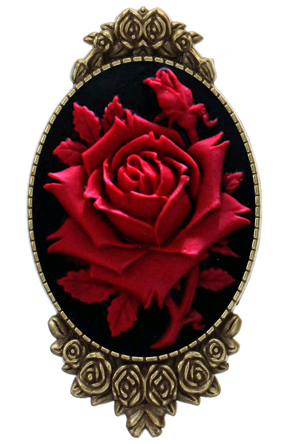 Rose Flower Brooch Pin Rose Decor Antique Brass Cameo Fashion Jewelry Pouch for Gift
