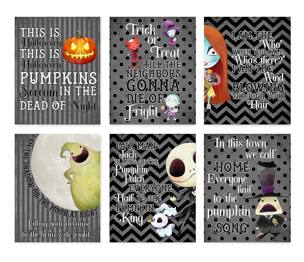 Nightmare Before Christmas Themed Character Wall Art Decor (Set of ...