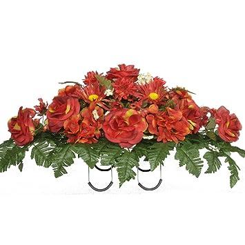 Sympathy Silks Artificial Cemetery Flowers Saddle Arrangement Red