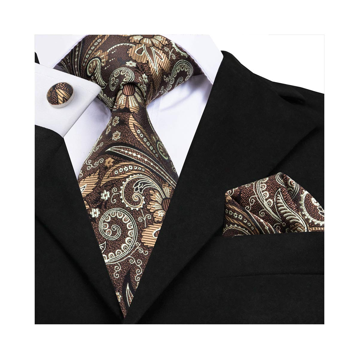 fashion paisley tie set handkerchief cufflinks necktie set brown flower wedding ties by Barry.Wang (Image #1)