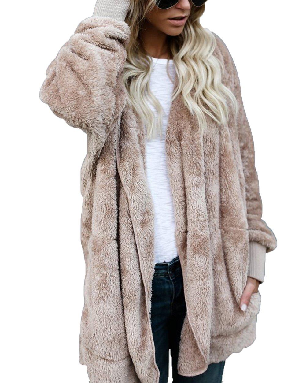 FOUNDO Womens Winter Fuzzy Long Sleeve Hooded Open Front Cardigans Trench Coats Khaki M
