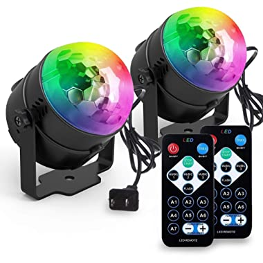 Yoozon Party Lights, [2-PACK] Sound Activated Disco Ball Strobe Party Light, 7 Lighting Color Disco Lights with Remote Control for Bar Club Party DJ Karaoke Wedding Show and Outdoor(3W) (Black)