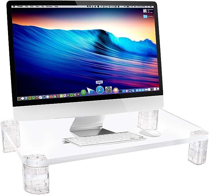 Port/átil Grande Relaxdays Soporte Monitor Cristal Transparente Elevador Pantalla Ordenador 1 Ud Ajustable