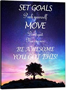 """Motivational Canvas Wall Art Inspirational Quotes Posters Set Goals Push Yourself Don't Quit Pictures Painting HD Print Artwork for Living Room Office Gym Home Classroom Decor Framed (30""""Wx40""""H)"""