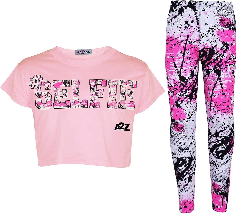 A2Z 4 Kids Kids Girls Crop Top Designers #Selfie Baby Pink Tops Trendy Hip Hop Dance Floss Fashion Belly Shirt Trendy Short T Shirt Half Tees New Age 5 6 7 8 9 10 11 12 13 Years