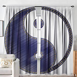 """NUOMANAN Curtains for Bedroom Ying Yang,Asian Spiritual Yin Yang Figure Textured in Jean Style Harmony and Balance Pair,White Blue,Insulating Room Darkening Blackout Drapes 120""""x96"""""""