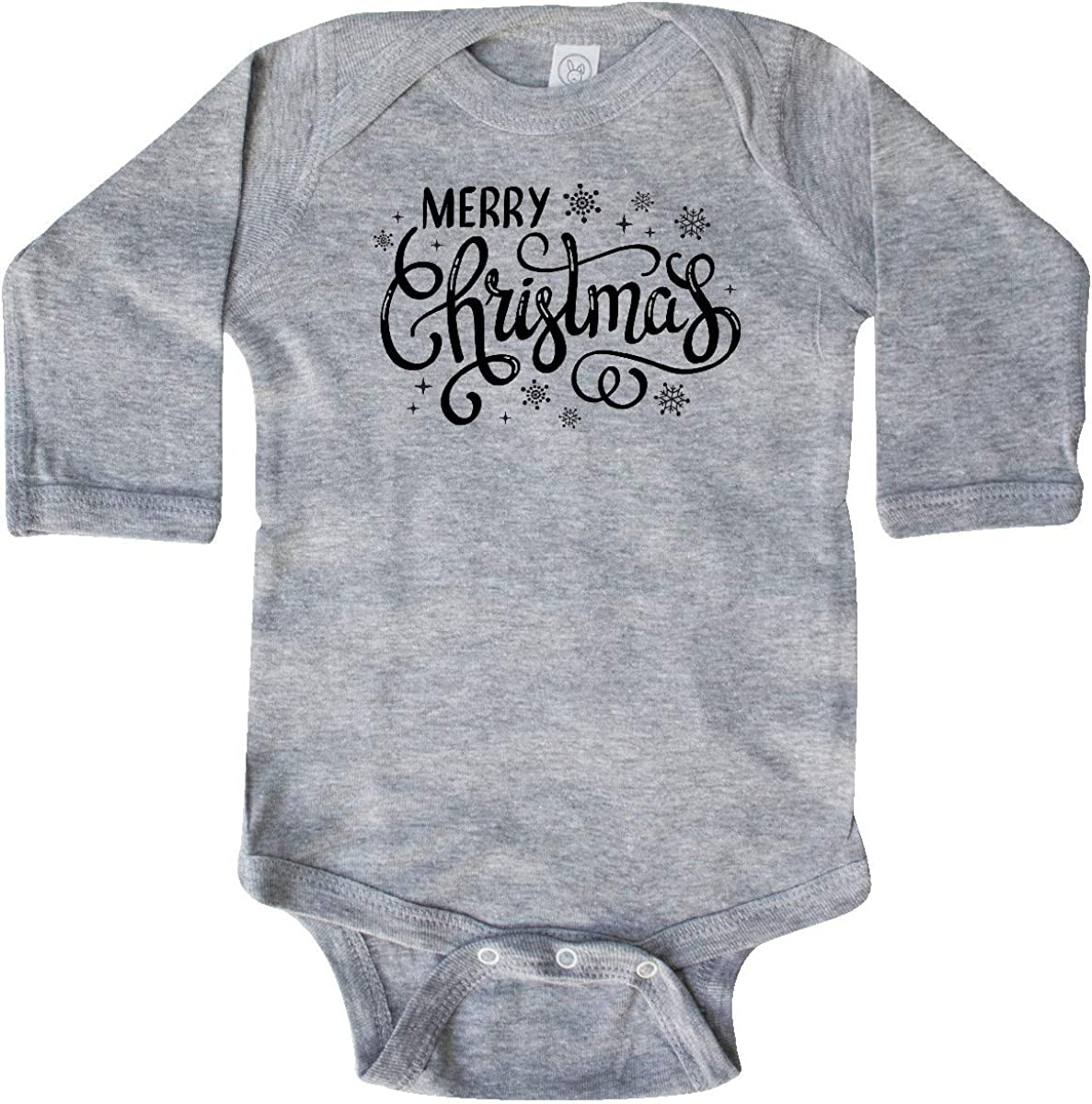 inktastic Merry Christmas Hand Lettering with Snowflakes in Long Sleeve Creeper