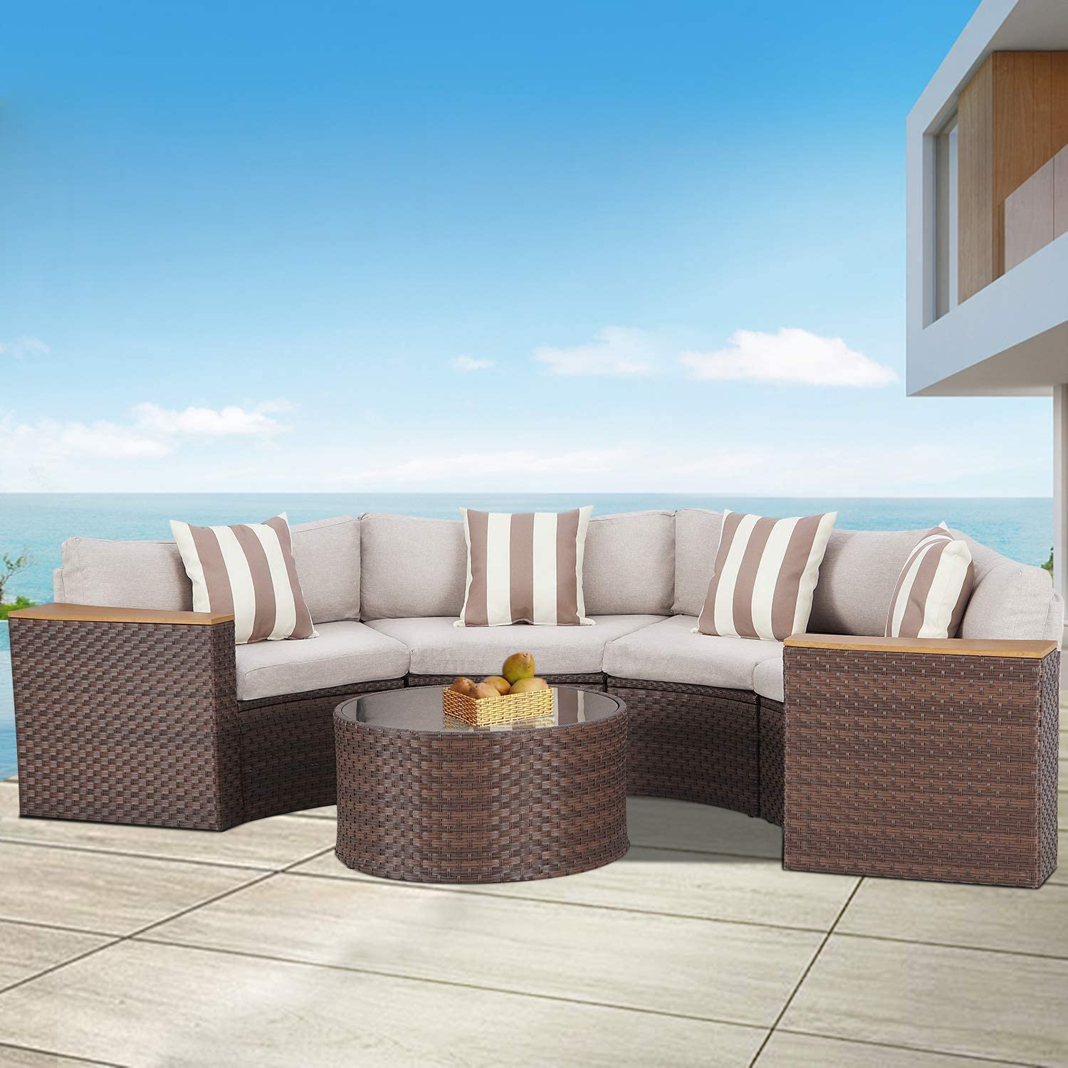 Cemeon Outdoor Furniture Patio 5-Piece Sectional Half-Moon Sofa All Weather Brown Wicker Conversation Set with Round Tempered Glass Table and Brown Cushions