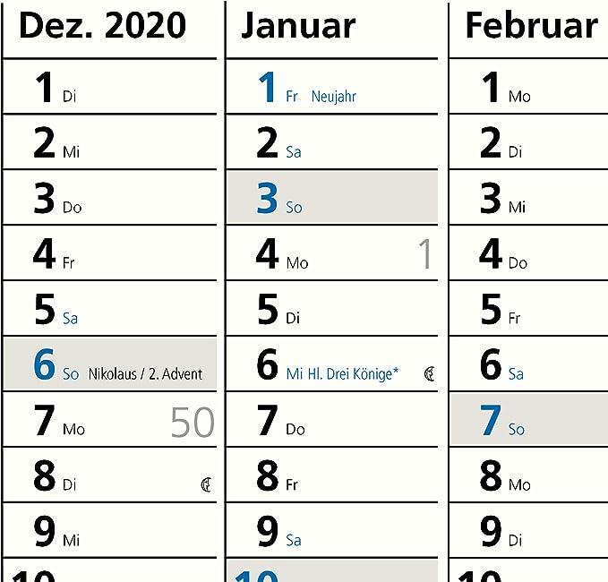 A1 Plakatkalender 2020 Parva Posterkalender 84 x 59 cm gro/ßer Wandkalender mit Ferien/übersicht Sonn und Feiertage in Blau gerollt geliefert!