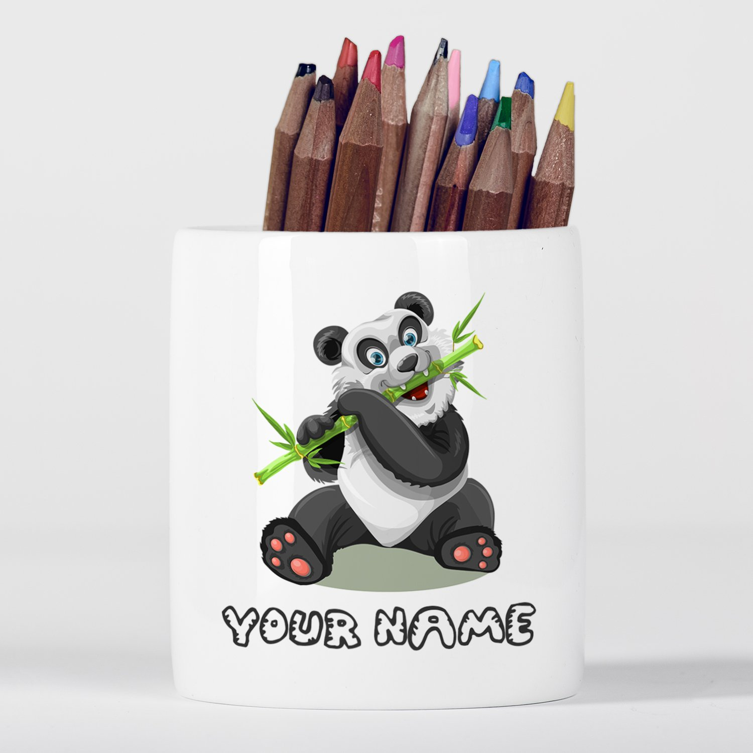Customized Panda Bamboo Children Kids Personalised Portapenne in ceramica