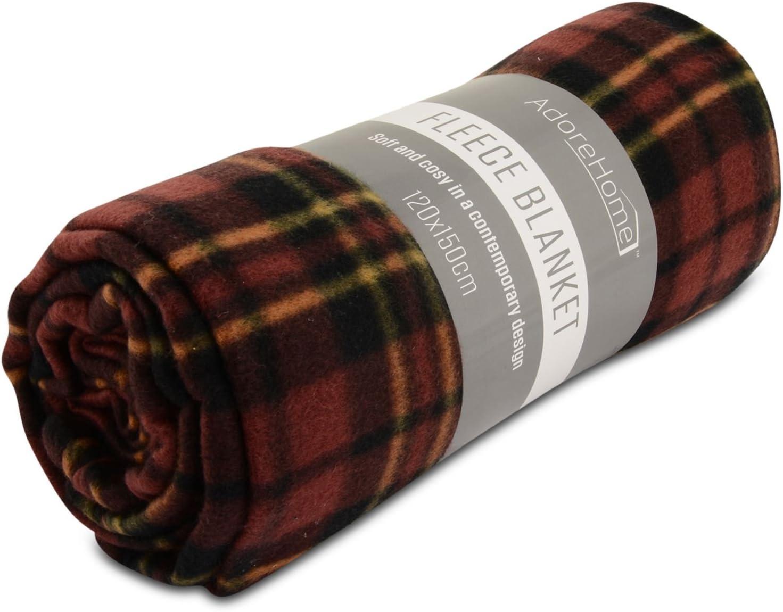 Doux chaud 200x240cm king size rouge tartan carreaux canapé jeté de lit couverture polaire