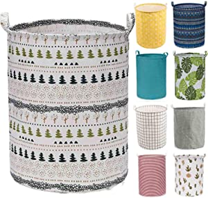 """Every Deco Cylinder Round Single Fabric Plastic Frame Laundry Basket Hamper Storage Bin Organization Collapsible Foldable Toys Clothes - 19.7"""" H/Large - Bohemian"""