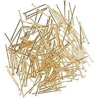 Prettyia Bulk 200pcs Silver Gold Plated 1m Flat Head Pins For Jewelry Making 19mm