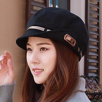 ERLINGSAN-MZ Hat female cotton Bashe face small beret cap female big head  hat visor 20dc2fae2b8