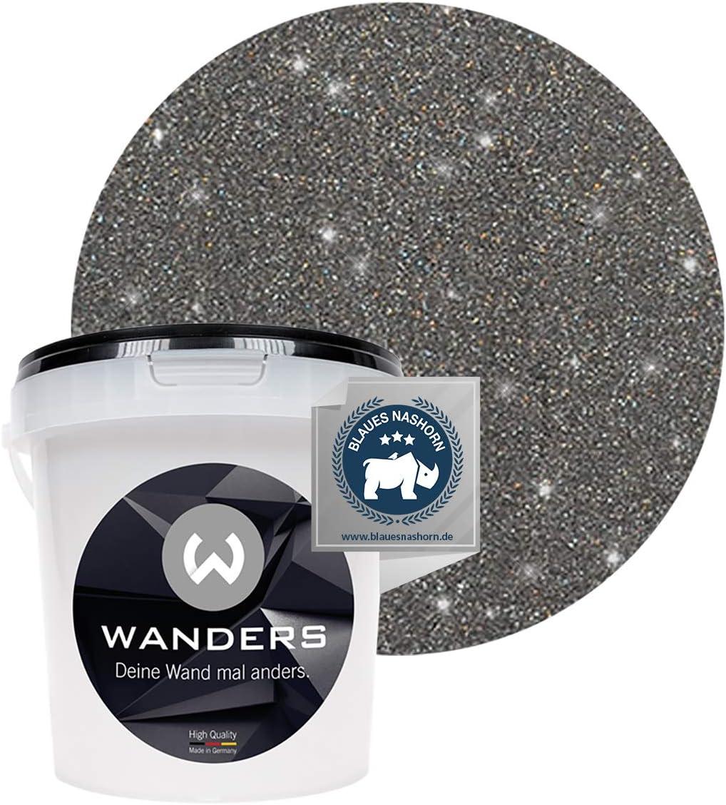 Wanders24 Glimmer Optik 1 Liter Silber Schwarz Glitzer Wandfarbe Wandfarbe Glitzer Abwaschbare Wandfarbe Glitzerfarbe Made In Germany Amazon De Baumarkt
